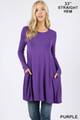 Front of Purple Wholesale - Long Sleeve Swing Tunic with Pockets