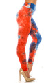Wholesale - Buttery Soft Red and Blue Tie Dye High Waisted Leggings - Plus Size
