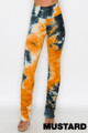 Mustard Wholesale - Double Brushed Tie Dye Side Ruched Stacked High Waisted Leggings
