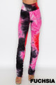 Pink Wholesale - Double Brushed Tie Dye Side Ruched Stacked High Waisted Leggings