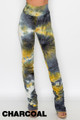 Charcoal Wholesale - Double Brushed Tie Dye Side Ruched Stacked High Waisted Leggings