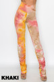 Khaki Wholesale - Double Brushed Tie Dye Side Ruched Stacked High Waisted Leggings