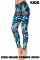 Wholesale - Creamy Soft Electric Blue Floral Butterfly Kids Leggings - USA Fashion™