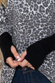 Wholesale - Oversized Leopard Contrast Cuff Long Sleeve Top with Thumbholes