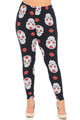 Buttery Soft Rose and Skull Extra Plus Size Leggings - 3X-5X