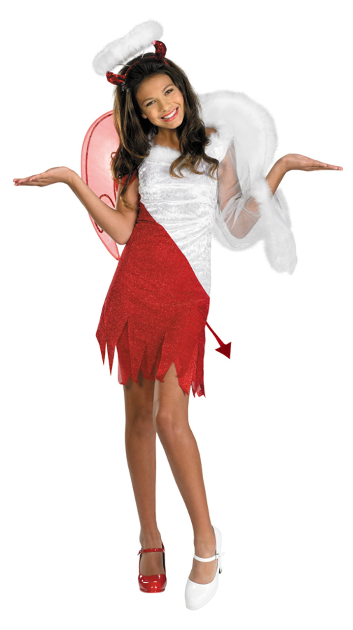 3 Pieces Girls Devil Angel Costume Feather Wing Halo Headband Fairy Wand Kit