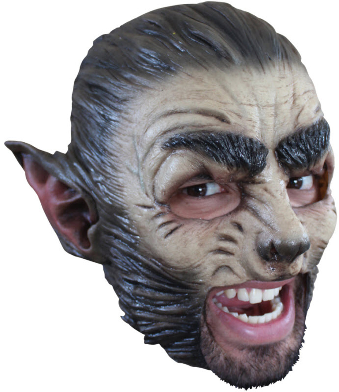 BLOODY WOLFMAN FITTED MASK WITH FUR HALLOWEEN HORROR WEREWOLF FANCY DRESS