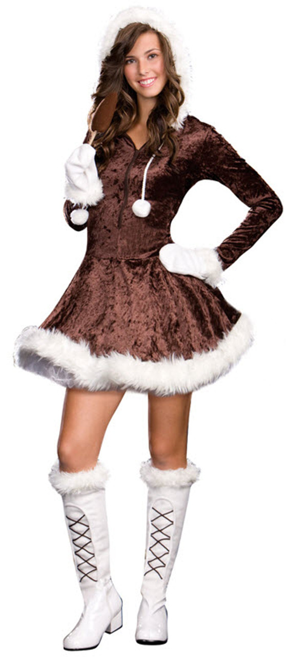 Eskimo Kisses Girls Winter Indian Brown Hooded Halloween Costume