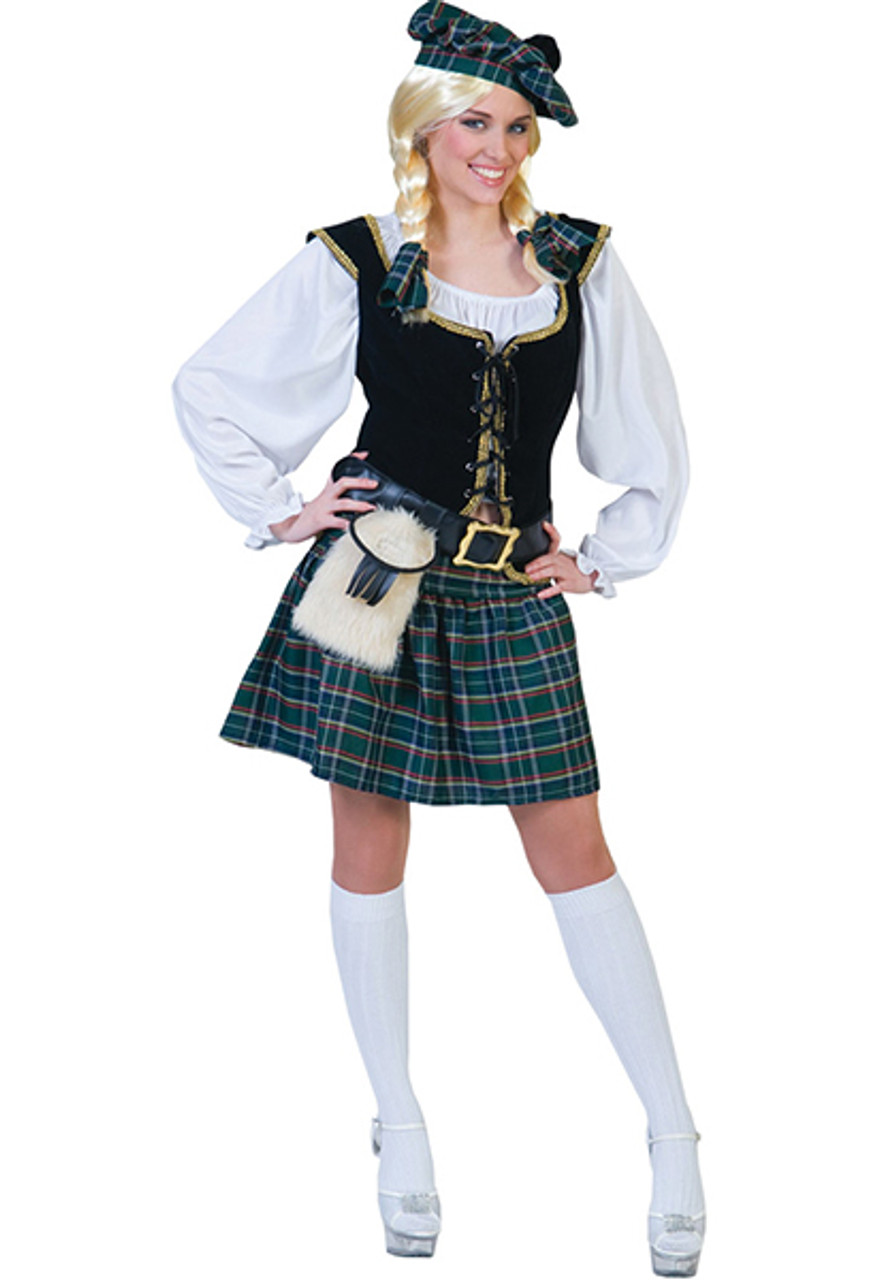 Scottish Lass Adult Womens Costume Plaid Pleated Skirt Fancy Dress Funny Fashion