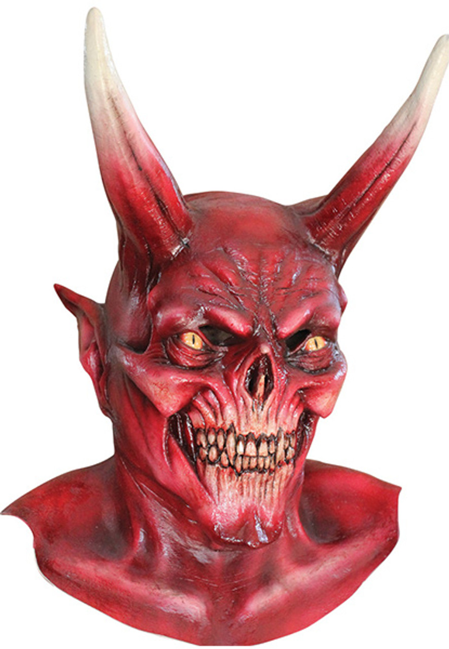 CLASSIC RED DEVIL WITH HORNS LATEX HORROR HALLOWEEN HEAD MASK