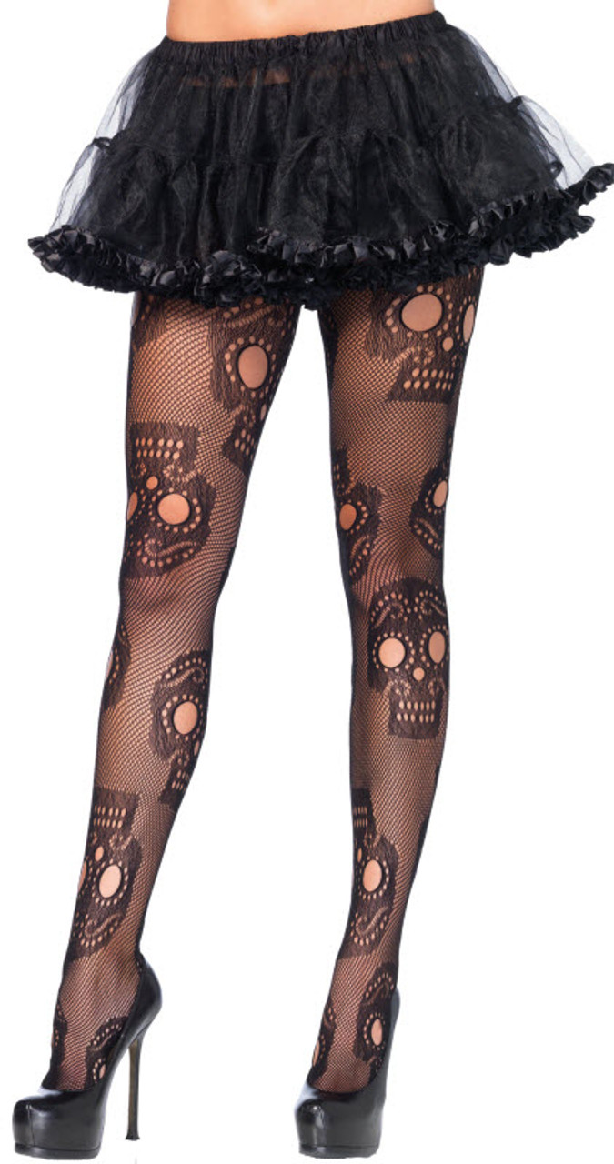Adult Womens Pirate Party Skull Crossbones Fancy Dress Stockings One Size