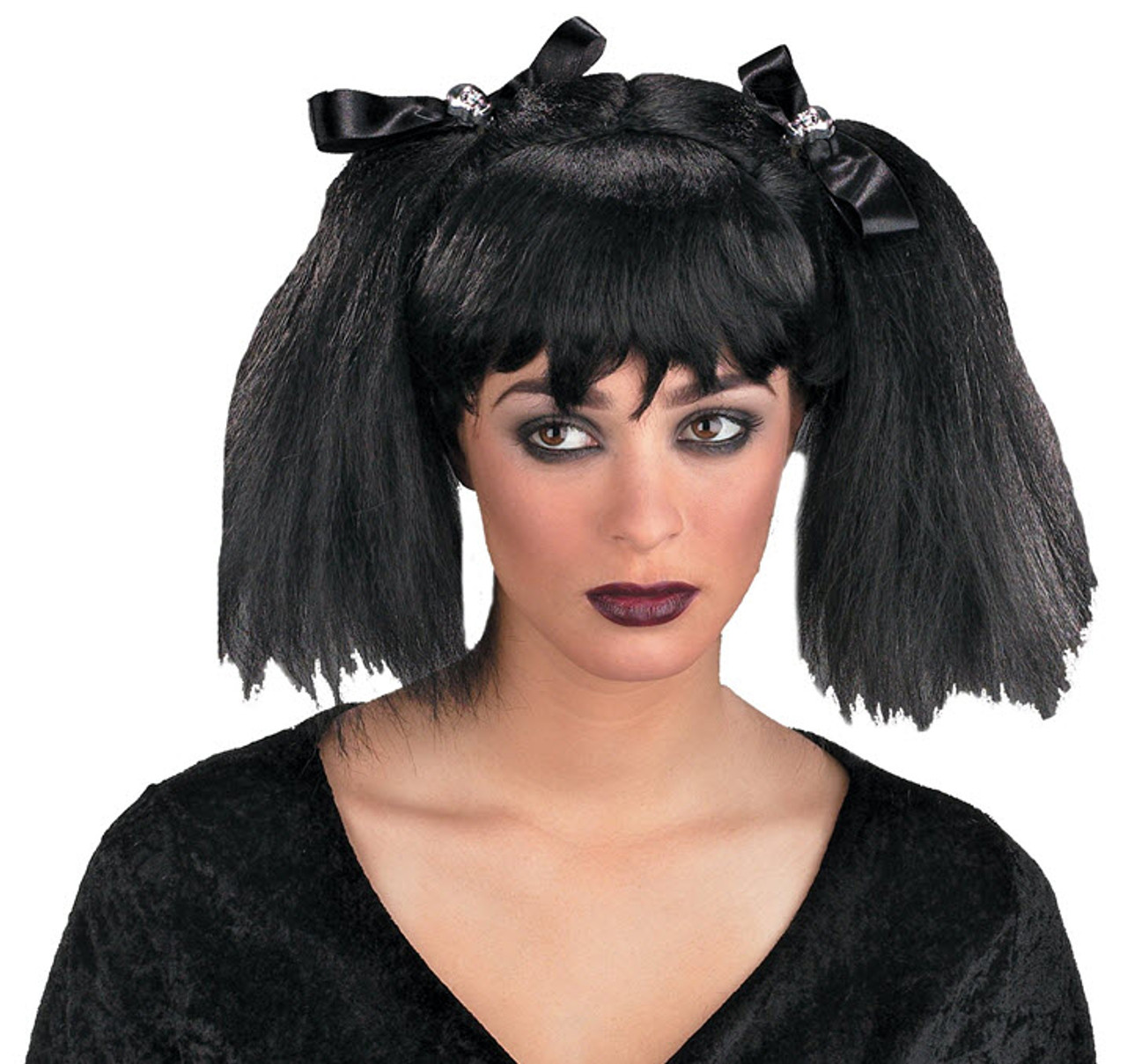 Black with Fringe Lady/'s Short 1960s Pop Star Style Fancy Dress Wig