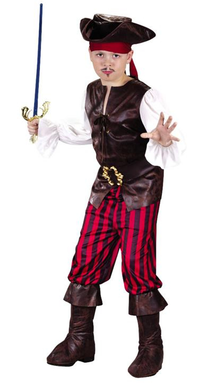 Boys Caribbean Pirate Sailor Buccaneer Outfit Halloween Costume 4 6 8 10 Hat NEW