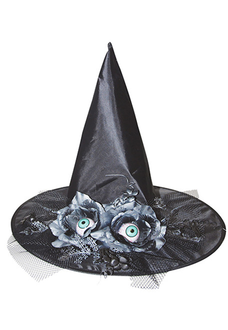 38510639e66ac Witch Hat with Flowers and Eyes
