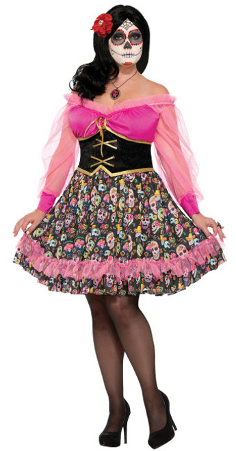 3fb1f8edd21da Plus Size Day Of The Dead Lady Costume - Halloween Express