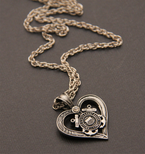 I Heart the Coast Guard necklace