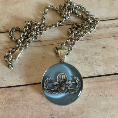 Light Blue Senior EOD necklace with Rolo Chain