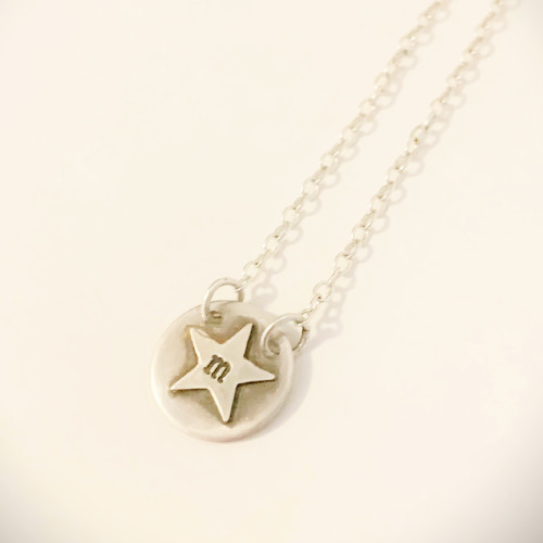 Single Silver Star Initial Disc Necklace - Sterling silver