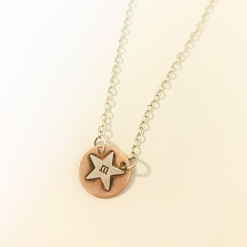 Single Copper Star Initial Disc Necklace