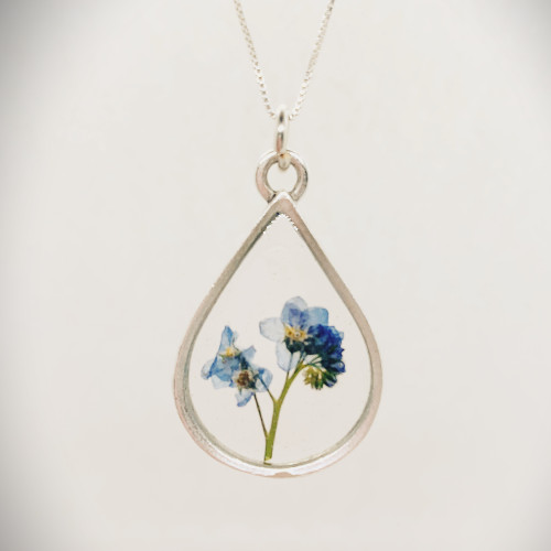 Forget Me Not Necklace  Antique Silver