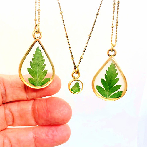 Tiny Solitaire Leaf necklace Antique Gold