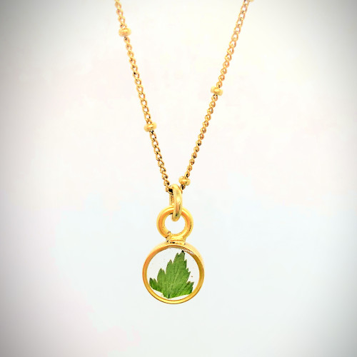 Tiny Solitaire Leaf necklace Antique Gold