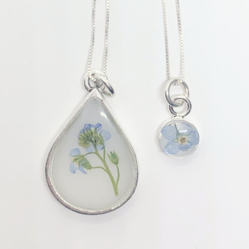 Mom & Me Forget Me Not Necklace Set, Antique Silver Milky
