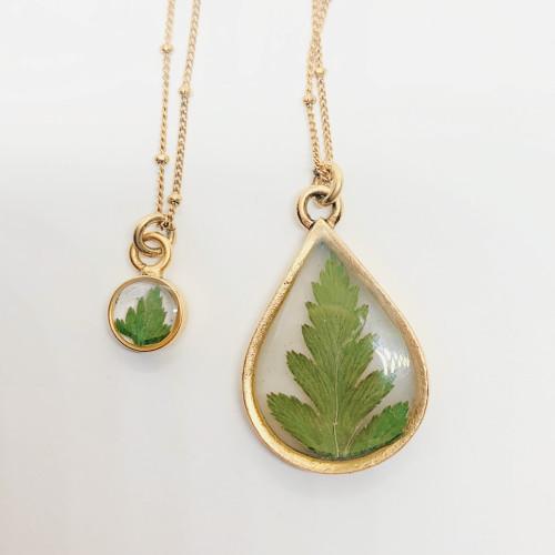 Mom & Me Pressed Leaf Necklace Set, Antique Gold