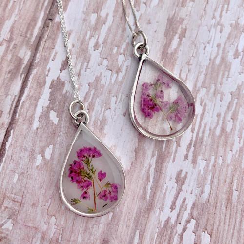 Heather Flower necklace - Antique Silver