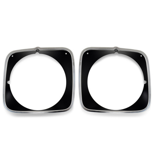 ACP FM-BH008G 1973 Ford Mustang Headlight Door Black Painted Polished Aluminum Mach 1 Pair
