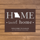 Personalized State Doormat for Grandma - Home Sweet Home (Brown)