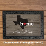Personalized State Doormat for Grandma with Black Embossed Frame