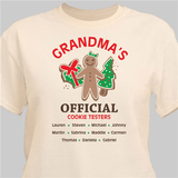 Official cookie tester personalized tan t-shirt makes a fun gift for any special person on your Christmas list!
