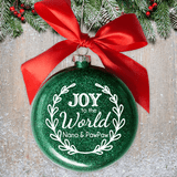Attractive green sparkle glass disc proclaims Joy to the World and is personalized just for you.
