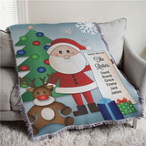 Personalized throw or tapestry has Santa showing off his Nice List, personalized for a special family.