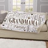 Personalized Sherpa Blanket...Family Word Art for Grandma