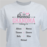 """Personalized """"This Blessed Grandma belongs to"""" T-Shirt - Ash Gray"""