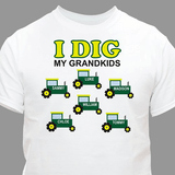 "Personalized T-Shirt for a Grandpa Who ""Digs"" His Grandkids"