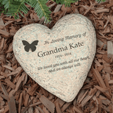 Personalized Heart-Shaped Butterfly Memorial Garden Stone for Grandma
