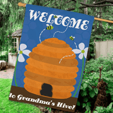 Personalized large house flag welcomes all to Grandma's Hive.