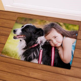 Personalized pet photo doormat comes in two sizes.