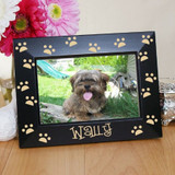 Pine wood pet frame, surrounded in paws, can be personalized for your special pet.