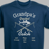 Personalized T-Shirt - Grandpa's Greatest Catch (Blue)