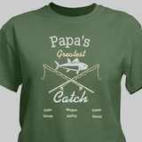 Personalized T-Shirt - Grandpa's Greatest Catch (Green)