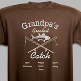 Personalized T-Shirt - Grandpa's Greatest Catch (Brown)