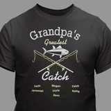 Personalized T-Shirt - Grandpa's Greatest Catch (Black)