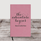 "Personalized Grandma Journal ""The Adventure Begins"" (Pink)"