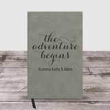 """Personalized Grandma Journal """"The Adventure Begins"""" (Charcoal)"""