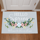 "Personalized Doormat for Grandma ""Hello Spring"""