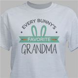 """Personalized Grandma's """"Every Bunny's Favorite"""" T-Shirt for Easter (Gray)"""